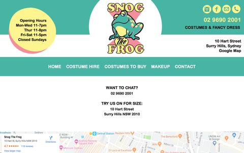 Screenshot of Contact Page snogthefrog.com.au - Contact - Snog The Frog - captured Oct. 9, 2019