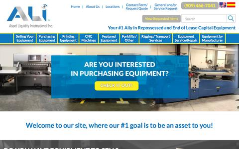 Screenshot of Home Page assetliquidity.net - Used Printing Equipment | Used CNC Machines | Used Forklifts - captured Sept. 23, 2018