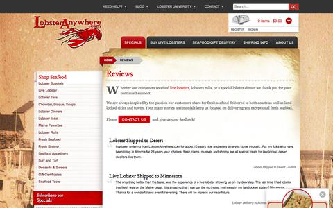 Screenshot of Testimonials Page lobsteranywhere.com - Reviews - Lobsteranywhere.com - captured Sept. 1, 2017