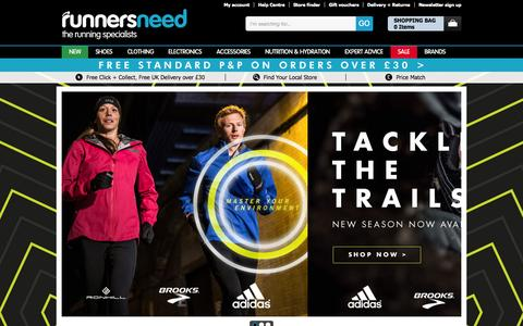 Screenshot of Home Page runnersneed.com - Running Shoes - Clothing & More - Runners Need | Running Specialists - Runners Need - captured Oct. 2, 2015