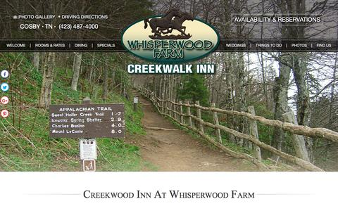 Screenshot of Contact Page Maps & Directions Page whisperwoodretreat.com - Bed and Breakfast in East Tennessee Smoky Mountains - captured July 2, 2018