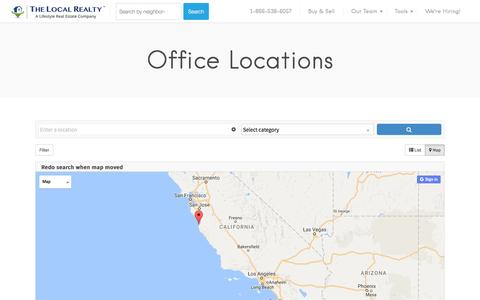Screenshot of Locations Page thelocalrealty.com - Office Locations - The Local Realty - captured Dec. 1, 2016