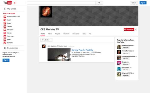 Screenshot of YouTube Page youtube.com - CES Machine TV  - YouTube - captured Oct. 22, 2014