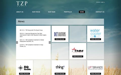 Screenshot of Press Page tzpgroup.com - NEWS | TZP Group - captured Sept. 30, 2014