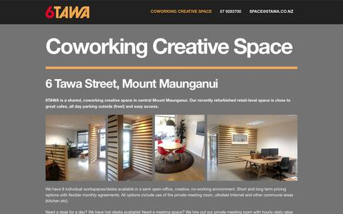 Screenshot of Home Page 6tawa.co.nz - 6 TAWA - Coworking Creative Space, Mount Maunganui - captured Oct. 6, 2014
