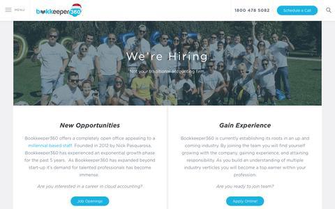 Screenshot of Jobs Page bookkeeper360.com - Careers at Bookkeeper360 | Bookkeeper360 - captured Dec. 13, 2018