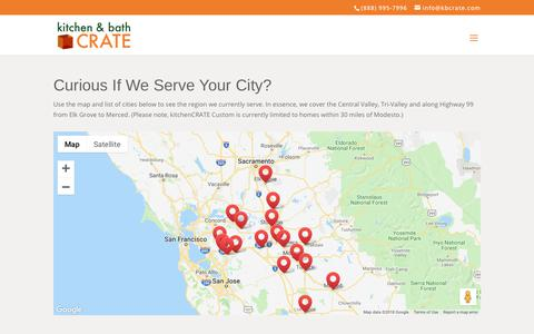 Screenshot of About Page Locations Page kbcrate.com - Areas We Serve - Modesto, Stockton, Elk Grove, Brentwood, & More! - captured Dec. 20, 2018