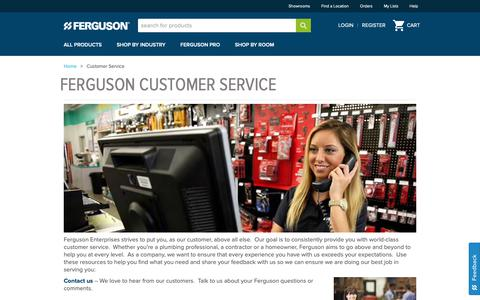 Screenshot of Support Page ferguson.com - Customer Service, Order Support, Contact Info - captured April 27, 2019