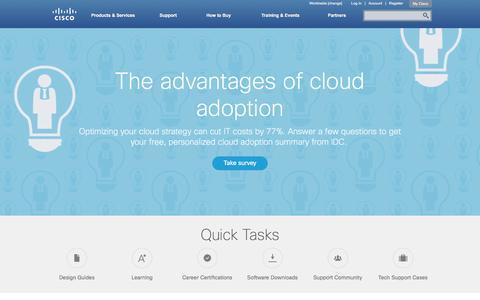 Screenshot of Home Page cisco.com - Cisco Systems, Inc - captured Dec. 16, 2015