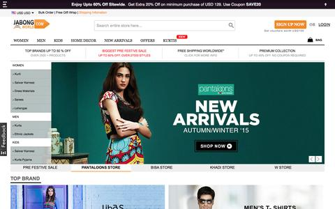 Screenshot of Home Page jabongworld.com - International Online Shopping-Clothing,Shoes,HandBags,Jewelry,Home Decor Online - captured Oct. 1, 2015