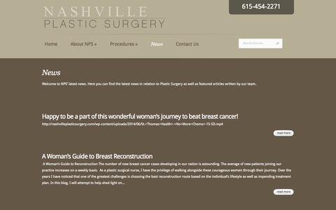 Screenshot of Press Page nashvilleplasticsurgery.com - News - Nashville Plastic Surgery | Nashville Plastic Surgery - captured Oct. 7, 2014