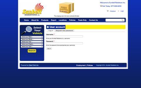 Screenshot of Login Page sunbeltradiators.com - User account | Sunbelt Radiators Inc. - captured Sept. 30, 2014