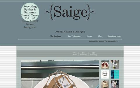 Screenshot of Home Page saigeconsignment.com - Saige Consignment Boutique - womens clothing in Greenville SC - captured July 6, 2017