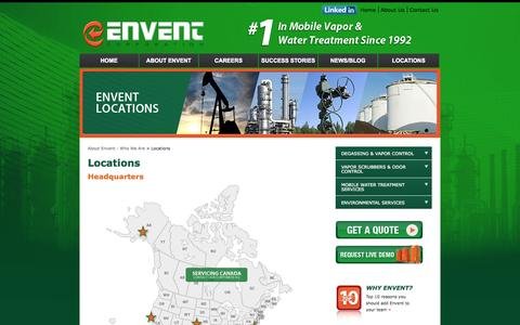 Screenshot of Contact Page Locations Page enventcorporation.com - Envent Corporation | Locations - captured Oct. 22, 2014