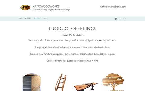 Screenshot of Products Page artfxwoodworks.com - Custom Furniture Maker | Custom Decor | Atlanta, GA | Artfxwoodworks - captured July 9, 2018
