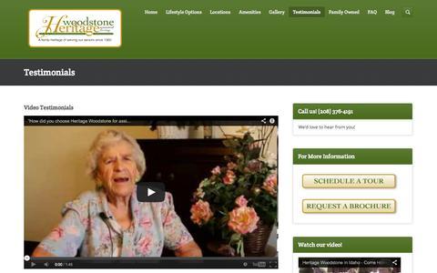 Screenshot of Testimonials Page heritagewoodstone.com - Elderly Assisted Living | Twin Falls & Boise Testimonials - captured Oct. 2, 2014