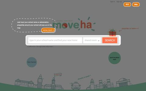 Screenshot of Home Page moveha.com - Moveha - NO.1 rental platform for international students. - captured Sept. 23, 2014