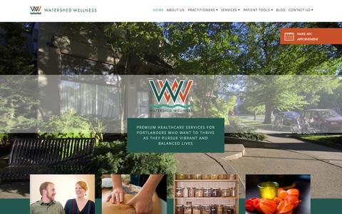 Screenshot of Home Page watershedwellnesspdx.com - Home - Watershed Wellness - captured Jan. 22, 2015