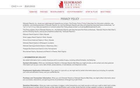 Screenshot of Privacy Page sciotodowns.com - Privacy Policy | Eldorado Gaming Scioto Downs - captured Nov. 19, 2016