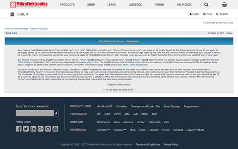 Screenshot of Signup Page mikroe.com - MikroElektronika Forum • User Control Panel • Register - captured Oct. 9, 2017