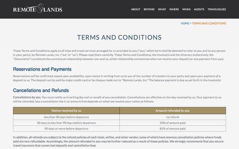 Screenshot of Terms Page remotelands.com captured Nov. 25, 2017