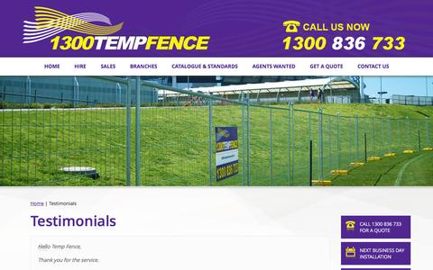 Screenshot of Testimonials Page temporaryfence.com.au - 1300TempFence Testimonials - captured Feb. 24, 2016