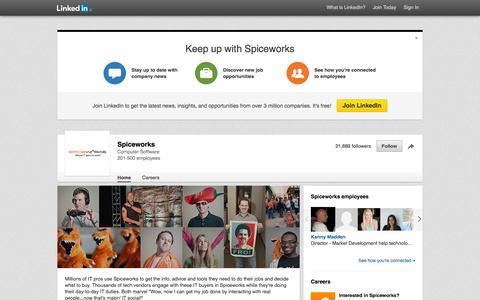Screenshot of LinkedIn Page linkedin.com - Spiceworks | LinkedIn - captured Nov. 23, 2015