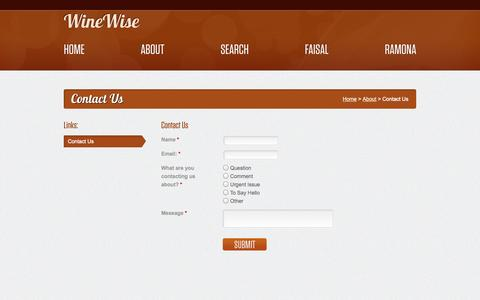Screenshot of Contact Page winewise.com - WineWise :: Contact Us - captured Oct. 9, 2014