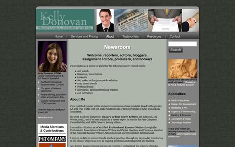 Screenshot of Press Page kellydonovan.com - For Media - Executive Resume Writing Services | Los Angeles Executive Resume Writer - captured Oct. 6, 2014
