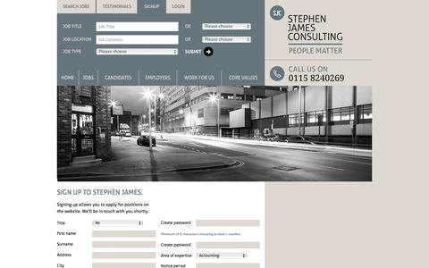 Screenshot of Signup Page stephenjamesconsulting.co.uk - Stephen James Consulting - Professional recruitment solutions - captured Feb. 24, 2016