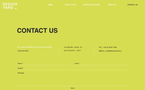 Screenshot of Contact Page designyard.it - Designyard | CONTACT US - captured Aug. 6, 2018