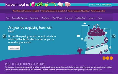 Screenshot of Home Page kavanaghco.com - Accountants in Bromsgrove : Kavanagh Limited - Chartered Accountants & Business Advisers - captured Oct. 6, 2014