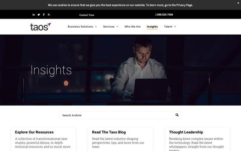 Screenshot of Blog taos.com - Taos Insights | Discover Technology and Cloud Strategy - captured Dec. 5, 2019