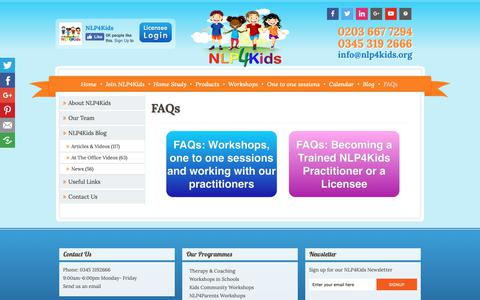 Screenshot of FAQ Page nlp4kids.org - FAQs | NLP4Kids | Children Therapy, Child Counselling, Self Esteem - captured Oct. 18, 2018