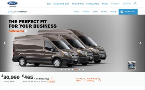 Screenshot of ford.com - 2016 Ford Transit | America's Full-Size Van Leader | Ford.com - captured March 20, 2016