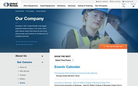 Screenshot of unitedrentals.com - Events Calendar   United Rentals - captured Oct. 23, 2016
