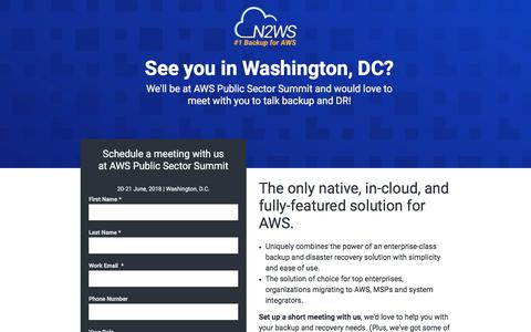 Screenshot of Landing Page n2ws.com - Meet N2WS at AWS re:INVENT 2017 - captured Sept. 19, 2018