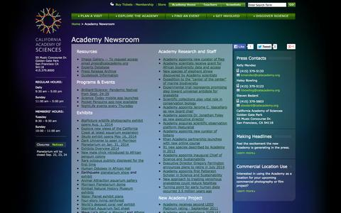 Screenshot of Press Page calacademy.org - Academy Newsroom | California Academy of Sciences - captured Sept. 19, 2014