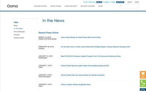Screenshot of Press Page ooma.com - In the News | Ooma - captured April 17, 2019