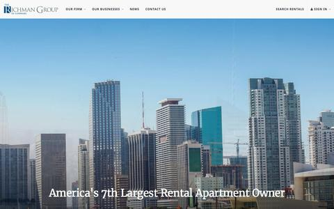 Screenshot of Home Page therichmangroup.com - The Richman Group   America's 7th Largest Rental Apartment Owner - captured Aug. 14, 2016