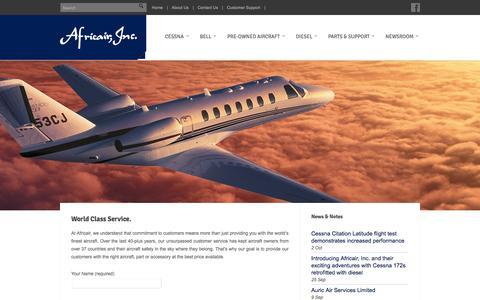 Screenshot of Support Page africair.com - Customer Support - Africair, Inc. - captured Oct. 4, 2014