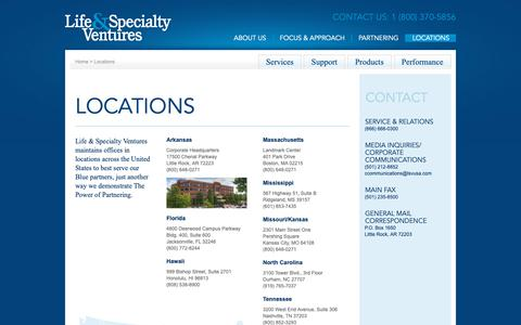 Screenshot of Contact Page Locations Page lsvusa.com - Life & Specialty Ventures      - Locations - captured Nov. 10, 2018