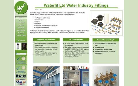 Screenshot of Home Page waterfit.co.uk - Waterfit Ltd – Fittings for the Water Distribution Industry - captured Oct. 8, 2014