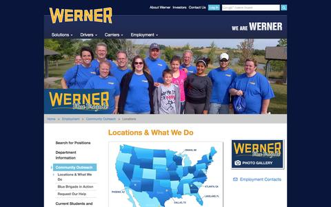 Screenshot of Locations Page werner.com - Locations & What We Do - captured Aug. 31, 2016