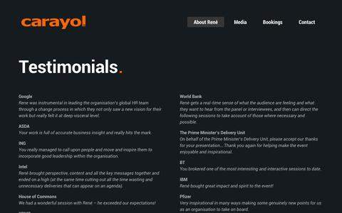 Screenshot of Testimonials Page carayol.com - Testimonials | René Carayol - Inspirational Leadership and Culture - captured Oct. 28, 2014