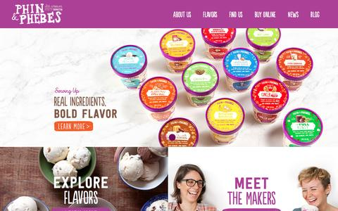 Screenshot of Home Page phinandphebes.com - Home   Phin & Phebes Ice Cream from Brooklyn, New York! - captured Sept. 20, 2016