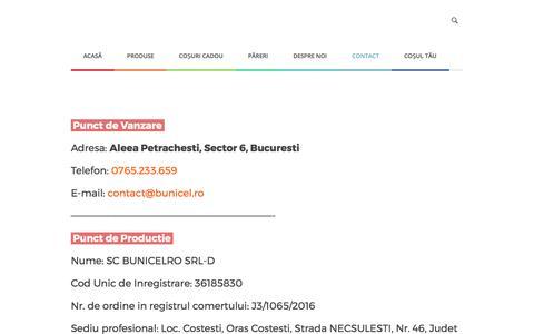 Screenshot of Contact Page bunicel.ro - Date de contact - Bunicel.ro - dulceata facuta la ceaun - captured Oct. 11, 2017
