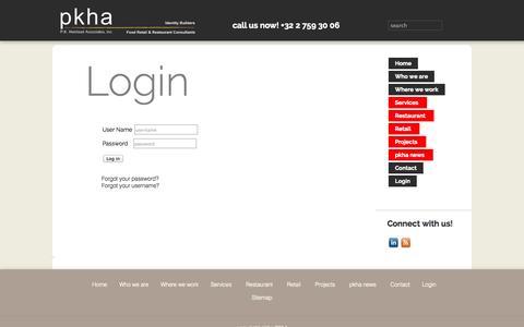 Screenshot of Login Page pkha.com - pkha - Food Retail & Restaurant Consultants - Contact - captured Oct. 1, 2014