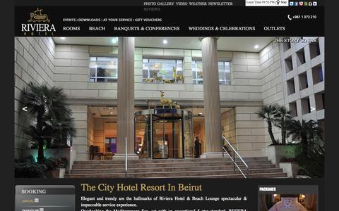 Screenshot of Home Page rivierahotel.com.lb - Riviera: 5 Stars Hotel in Beirut Lebanon & Lebanese Beach Resort Wedding Venue Hotels in Beirut - captured Oct. 6, 2014