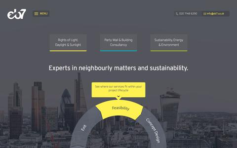 Screenshot of Home Page eb7.co.uk - eb7 - Experts in rights of light, party walls & sustainability - captured Sept. 17, 2015